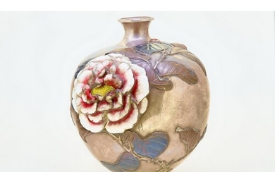 JAPANESE SILVER VASE WITH ENAMEL AND RELIEF FLORAL DECORATIO...