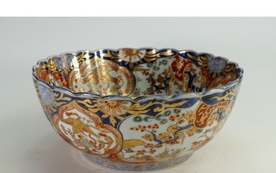 Large 19th century Japanese footed bowl: With foliage & cran...