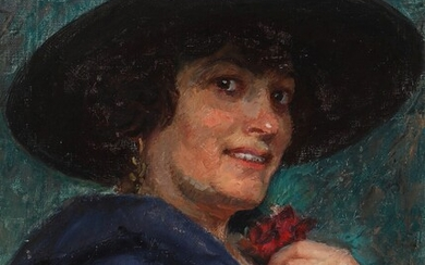 Laurits Tuxen: Portrait of a lady with a large black hat. Signed and dated L.T....