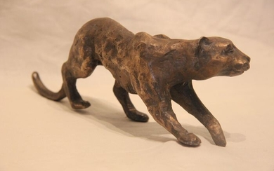 Le Cann (1969) - Art bronze - Panther on the lookout - Signed and numbered 3/8 ex - Contemporary - Patinated bronze