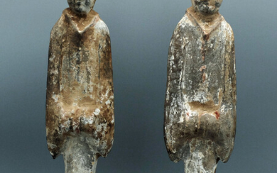 Matched pair of Han Dynasty dancers or court attendants