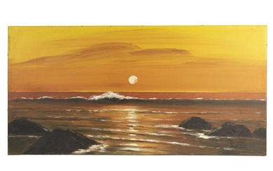 OIL ON CANVAS PAINTING OF A COAST SCENE
