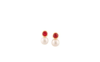 PAIR OFCULTURED PEARL, RUBY AND GOLD EARRINGS