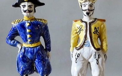 POSILLIPO Sculptures Two polychrome sculptures, a policeman and a oriental...