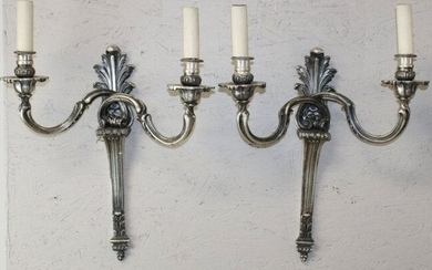 Pair French Louis XV style nickel plated sconces