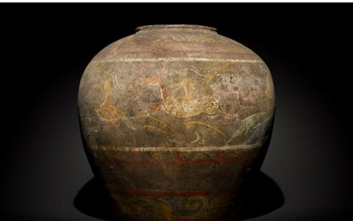RARE CHINESE HAN DYNASTY TERRACOTTA VESSEL PAINTED WITH