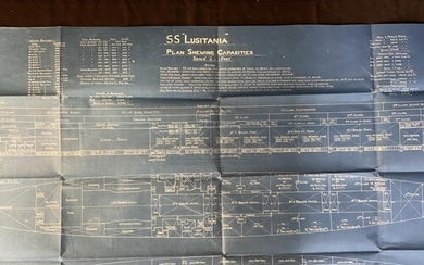 R.M.S. LUSITANIA: An extremely rare blueprint of the S.S. Lu...