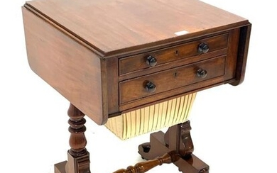 Regency mahogany work table, the rectangular top with two...