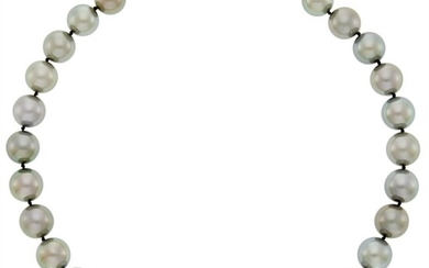 Tahitian Gray Cultured Pearl Necklace with White Gold and Diamond Ball Clasp