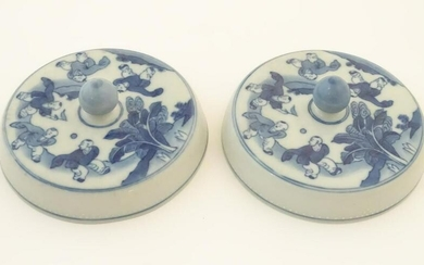Two Chinese blue and white lids with figures in a