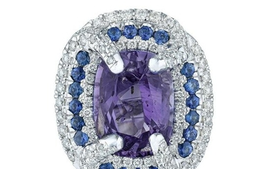 Unheated Color Change Sapphire and Diamond Ring