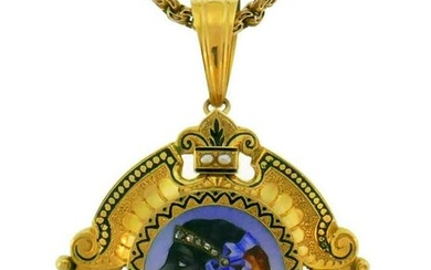 Victorian Yellow Gold PIN Brooch NECKLACE Pendant