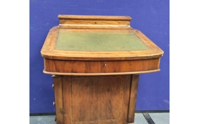 Victorian walnut inlaid Davenport desk, with a hinged statio...