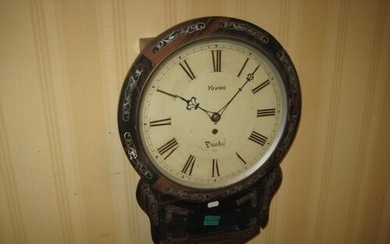19th Century Rosewood Wall Clock Inlaid with Mother of Pearl...