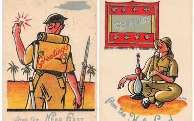 3 Greeting Postcards for British Soldiers - Holy Land