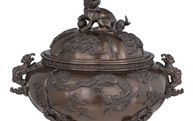 A Chinese finely sculpted bronze censer, H 20 - W 22 cm