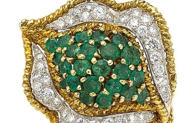 A Diamond, Emerald, and Gold Ring Stones: Full