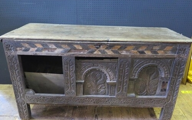 A Distressed Early Panelled Oak and Inlaid Coffer, c. 16th c...
