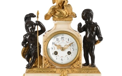 A FRENCH LOUIS XVI STYLE ORMOLU, PATINATED BRONZE AND WHITE MARBLE SMALL MANTEL CLOCK