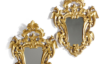 A PAIR OF ITALIAN GILTWOOD WALL MIRRORS IN ROCOCO STYLE