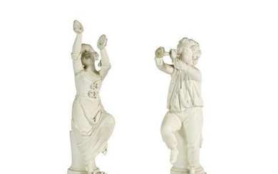 A Pair of Derby Bisque Figures of Musicians, circa 1775,...