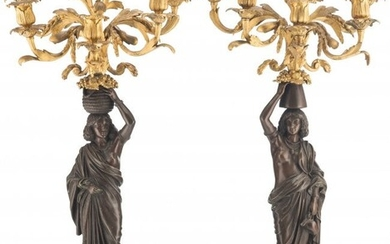 A Pair of Gilt and Patinated Bronze Figural Cand