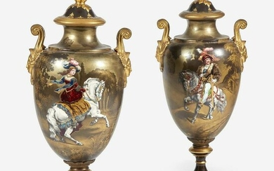 A Pair of Sèvres Style Parcel-Gilt and Enameled