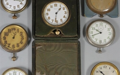 A Tiffany & Co 8 day travelling clock, two Elkington & Co ex...