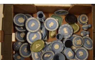 A collection of Wedgwood Jasperware to include jugs, pin tra...