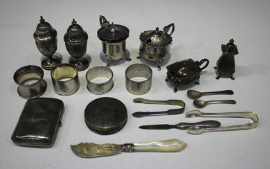 A collection of silver items, including a pair of late Victorian silver pepper casters of half spira
