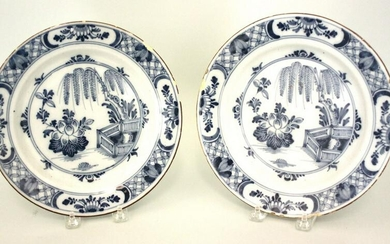 A good pair of mid 18th century Liverpool delft plates