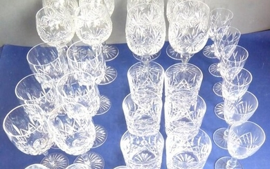 A good selection of hand-cut drinking glasses: to include a ...