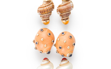 A group of turbo shell and gemstone ear clips, MAZ