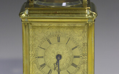 A late 19th/early 20th century French brass gorge cased carriage clock by Rollin of Paris, with eigh