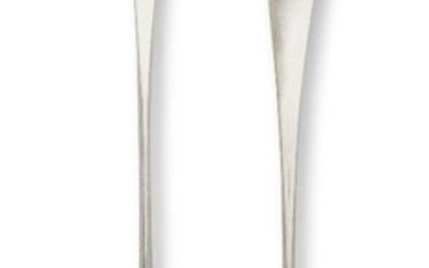 A pair of George III silver basting spoons, London, c.1793, with marks for Peter and Ann Bateman overstruck by George Gray, the Old English pattern spoons with matching figural armorial to terminals, 31.5cm long, total weight approx. 7.4oz