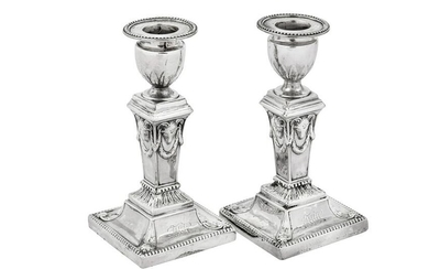 A pair of George III sterling silver dwarf or desk