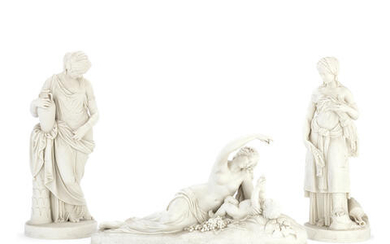 A pair of late 19th century Copeland Parian porcelain figures of 'Ruth' and 'Rebekah' and a further similar period Copeland figure of 'Ino and the infant Bacchus'