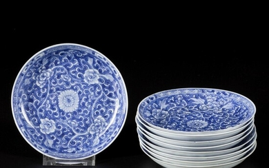 A set of (9) porcelain plates with floral decoration in reversed technique, China, Kangxi.