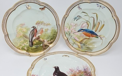 A set of seven 19th century cabinet plates, decorated birds ...