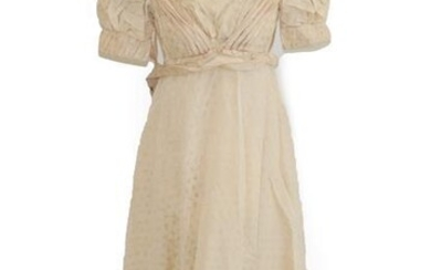 A19th Century Cream Silk Short Sleeve Dress woven with leaves,...