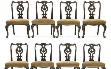 Antique Set of Eight Irish Chippendale Style Carved