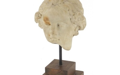 **WITHDRAWN** Antique carved white marble bust of a Roman he...