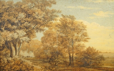 British School, late 18th/early 19th century- Figure with cows in an English landscape; watercolour, 29 x 45 cm.