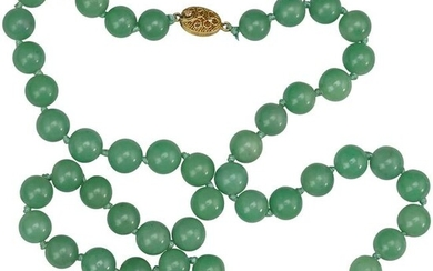 Chinese Celadon Jade Bead Necklace with Silver Clasp