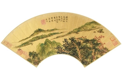 Chinese Landscape Fan Painting Attributed to Tang Yin