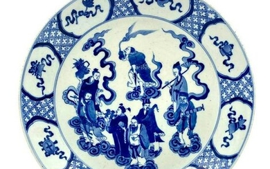 Chinese Qing Style Blue and White Porcelain Charger