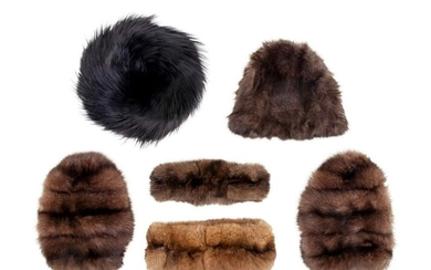 Collection of Six Fur Pieces: Two Hats, Two Headbands