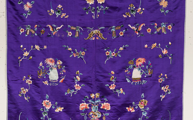 Embroidered Purple Silk Coverlet