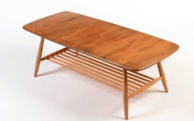 Ercol: a light elm and beech 'Windsor' Model 459 occasional coffee table.