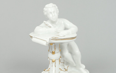 FIGURE in porcelain, seated Alexander Sergeyevich Pushkin with feather pen, 20th century first half, Russia.